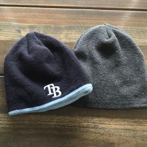 2 Boys Knit Hats (Tampa Bay Rays/Plain Grey)